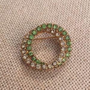 Peridot Green & Clear Rhinestone Double Circle Pin